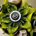 Green Kusudama and Rose Folded Pape..