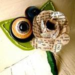 Green Rose Paper Flower and Button ..