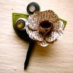 Three Green and Book Page Rose Pape..