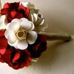 Red and White Paper Rose Flower Wed..