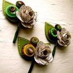 Three Boutonnieres Book Page Rose P..