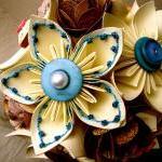 Paper Flower Wedding Bouquet, White..