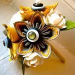 Yellow, Grey and White Kusudama and..