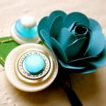 Paper Rose Boutonniere, Grooms Bout..