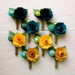 Paper Flower Boutonniere, Wedding, ..