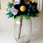 Paper Flower Bouquet, Wedding, Blue..
