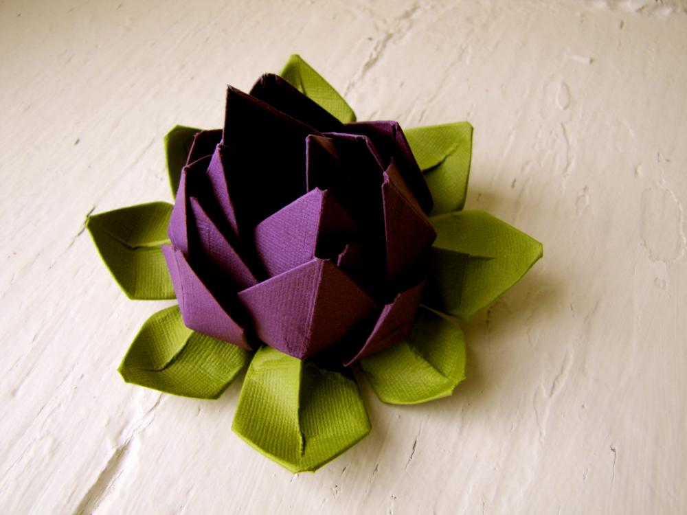 Paper Lotus Purple And Green Wedding Decor Bouquet Home Decorations Event On Luulla