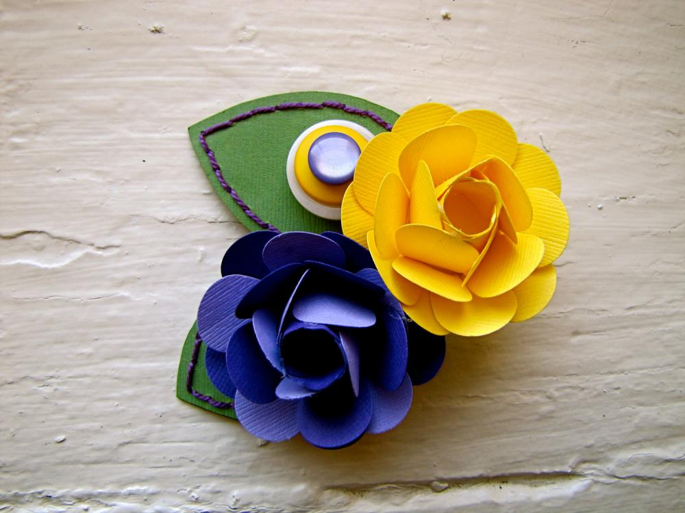 Paper Flower Corsage, Pin-on Corsage, Wedding, Purple, Yellow, Rose