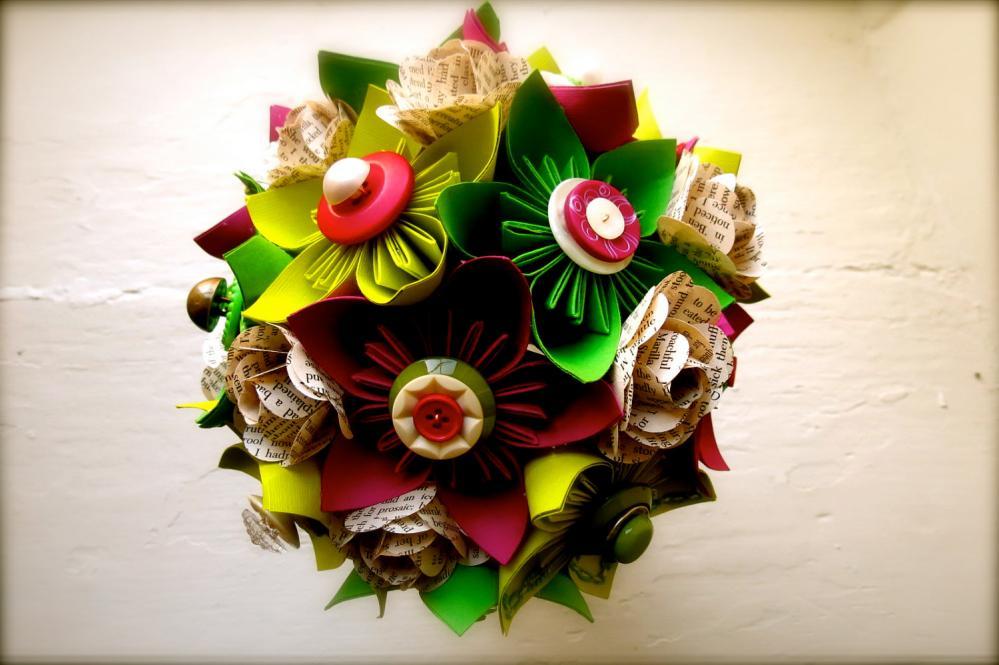 Paper Flower Wedding Bouquet, Green, Fuchsia, Kusudama, Rose