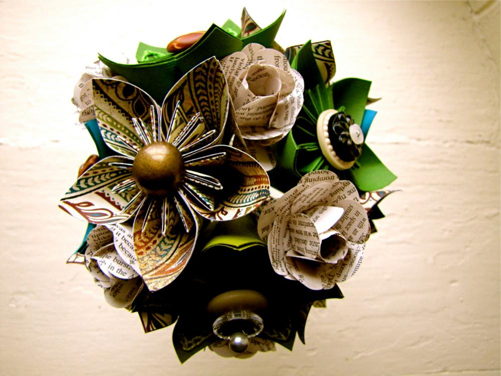 Paper Flower Wedding Bouquet, Green, Teal, Book Pages, Kusudama ...