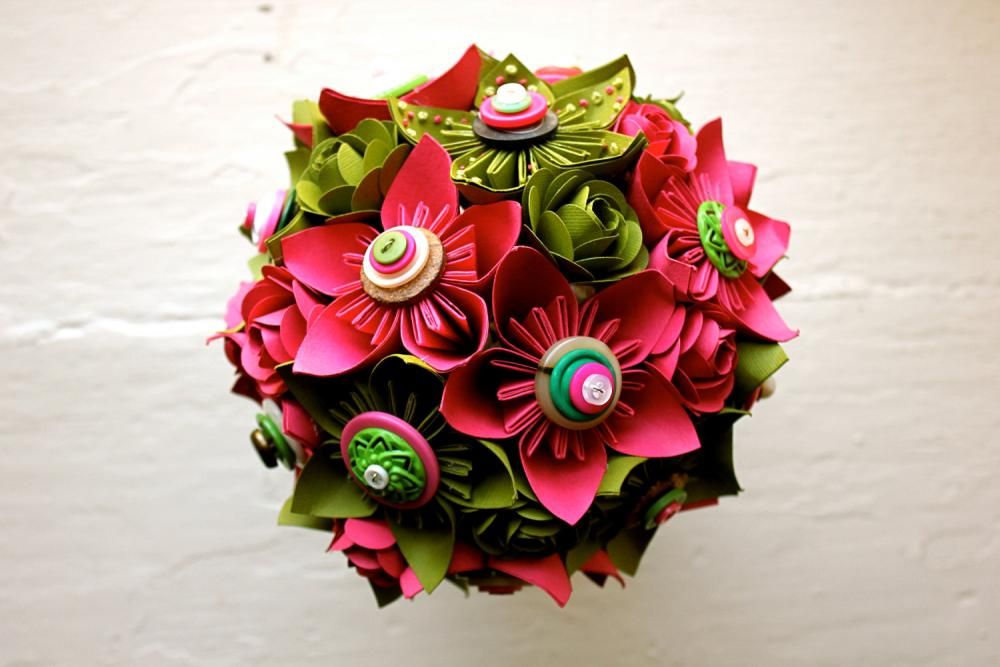 Paper Flower Wedding Bouquet, Green, Pink, Kusudama, Rose