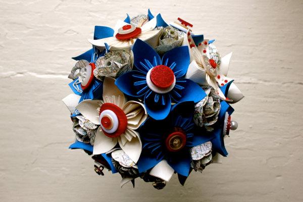 Paper Flower Bouquet, Wedding, Blue, White, Red, Map, Kusudama, Rose