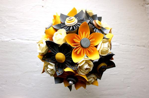 Paper Flower Bouquet, Wedding, Yellow, Grey, White, Kusudama, Rose