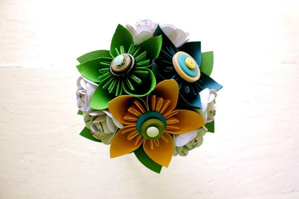 Paper Flower Bouquet, Toss Bouquet, Wedding, Blue, Green, Yellow, Kusudama, Rose