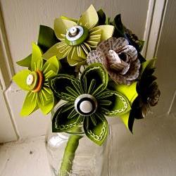 Green Kusudama and Rose Folded Paper Flower Bouquet for Wedding or Events by The Little Red Button