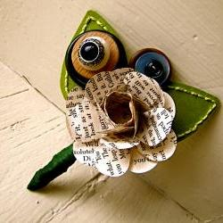 Green Rose Paper Flower and Button Boutonniere for Wedding or Event by The Little Red Button