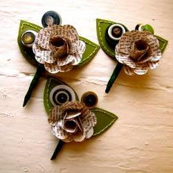 Three Green and Book Page Rose Paper Flower and Button Boutonniere for Wedding or Event by The Little Red Button