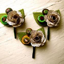 Three Boutonnieres Book Page Rose Paper Flower and Button Boutonniere for Wedding or Event