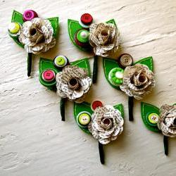 Six Green, Fuchsia and Book Page Rose Paper Flower and Button Boutonniere for Wedding or Event