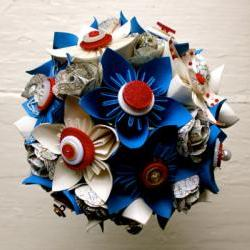 Paper Flower Bouquet, Wedding, Blue, White, Red, Map, Kusudama, Rose