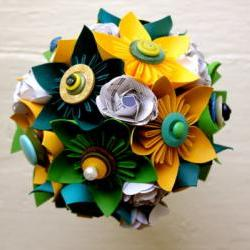 Paper Flower Bouquet, Wedding, Blue, Green, Yellow, Kusudama, Rose