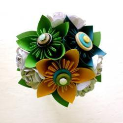 Paper Flower Bouquet, Toss Bouquet, Wedding, Blue, Green, Yellow, Kusudama, Rose