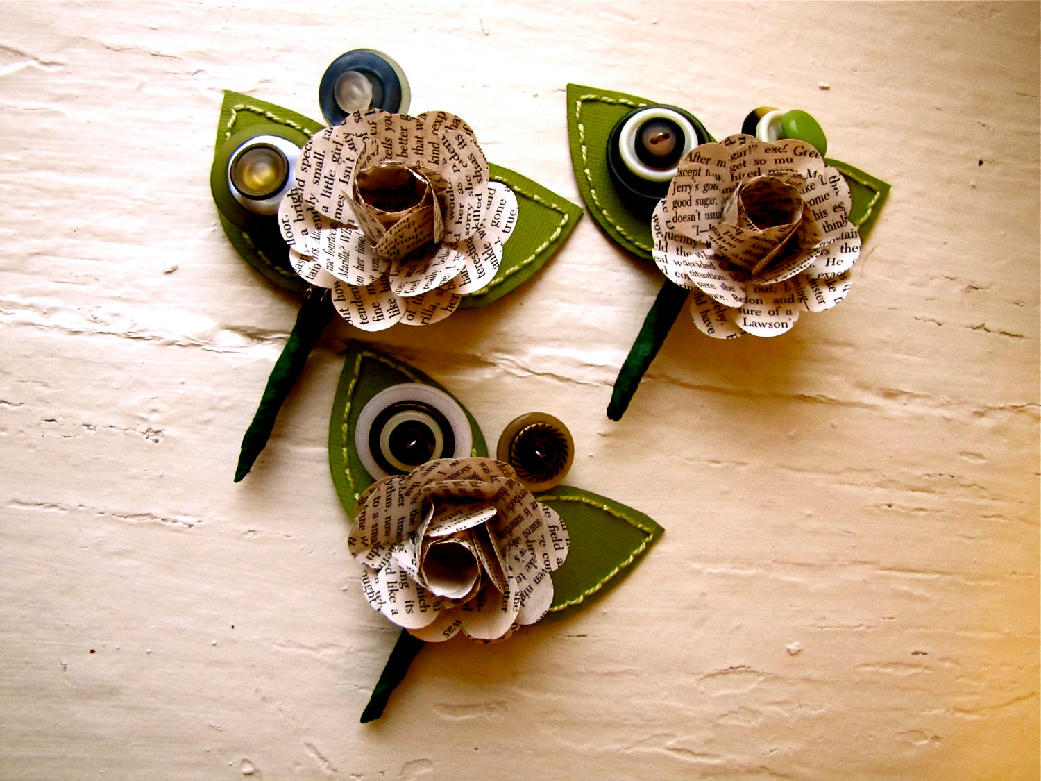 Three green and book page rose paper flower and button boutonniere three green and book page rose paper flower and button boutonniere for wedding or event by the little red button dhlflorist Image collections