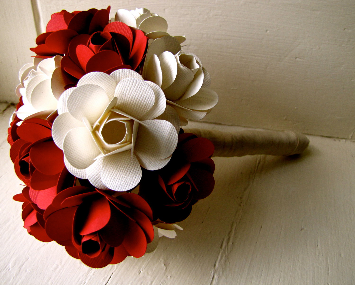Red And White Paper Rose Flower Wedding Bouquet On Luulla