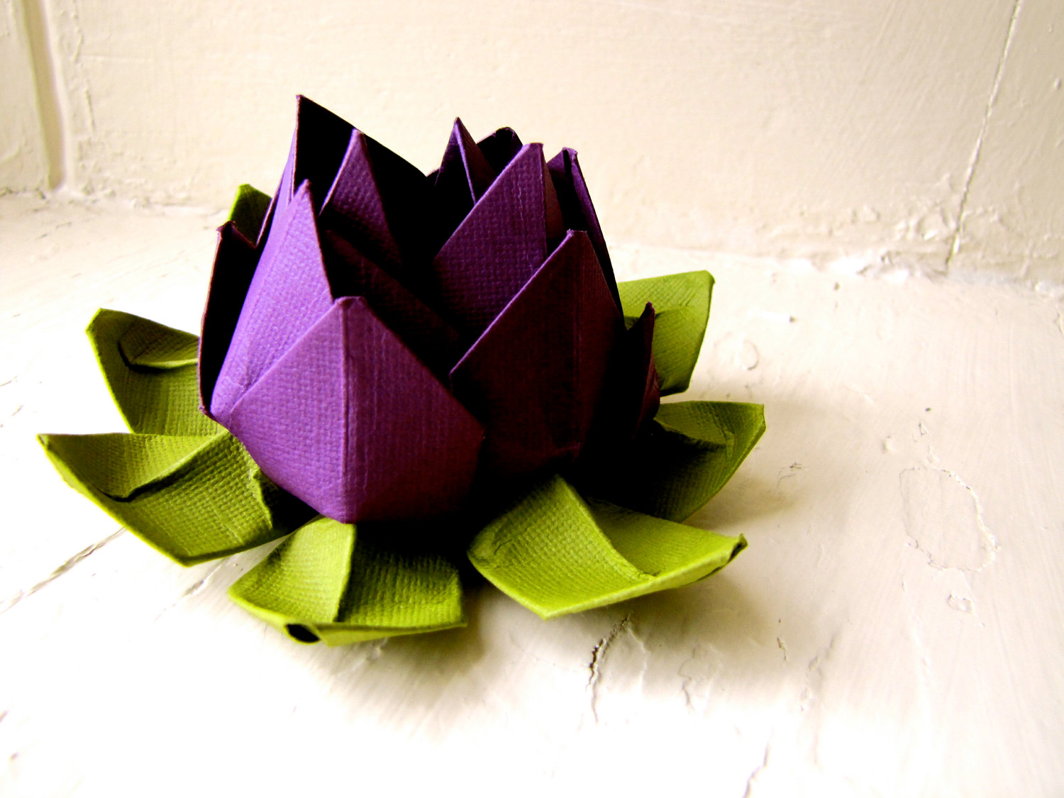Paper Lotus Purple And Green Wedding Decor Wedding Bouquet Home