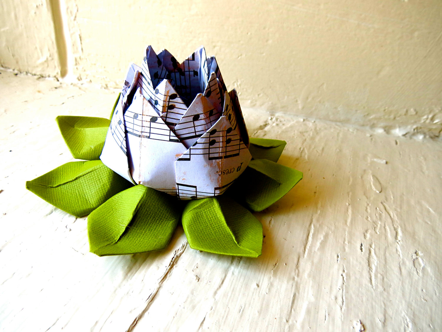 Paper Lotus Music Sheet And Green Wedding Decor Wedding Bouquet