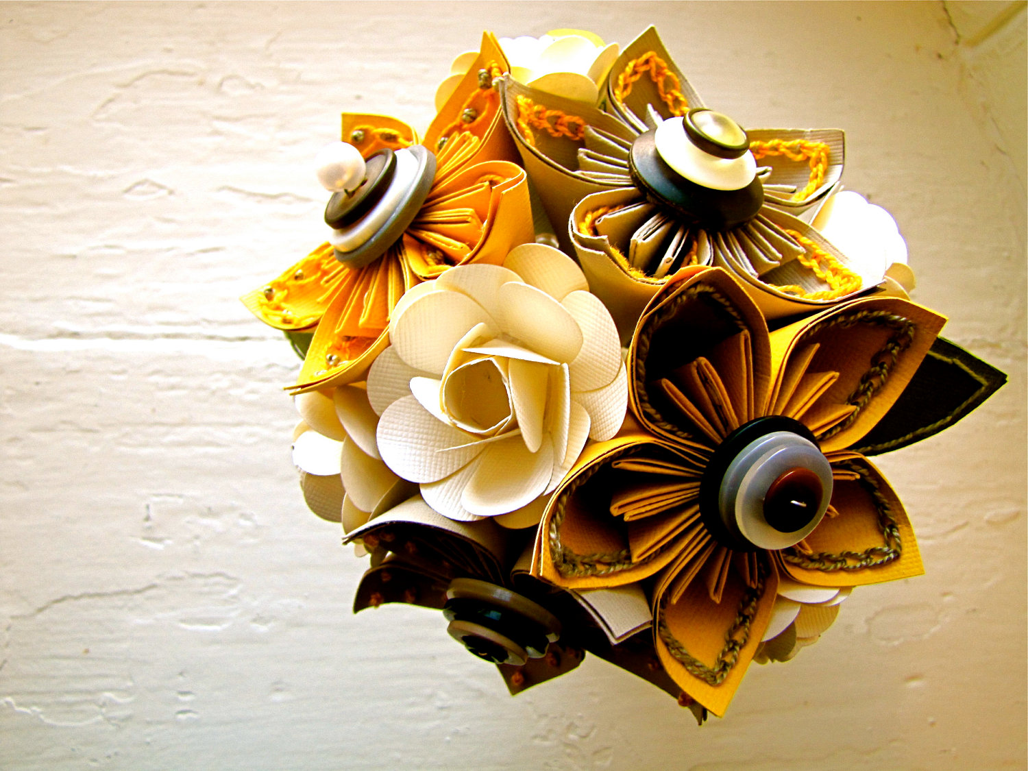 Yellow Grey And White Kusudama And Rose Folded Paper Flower Bouquet