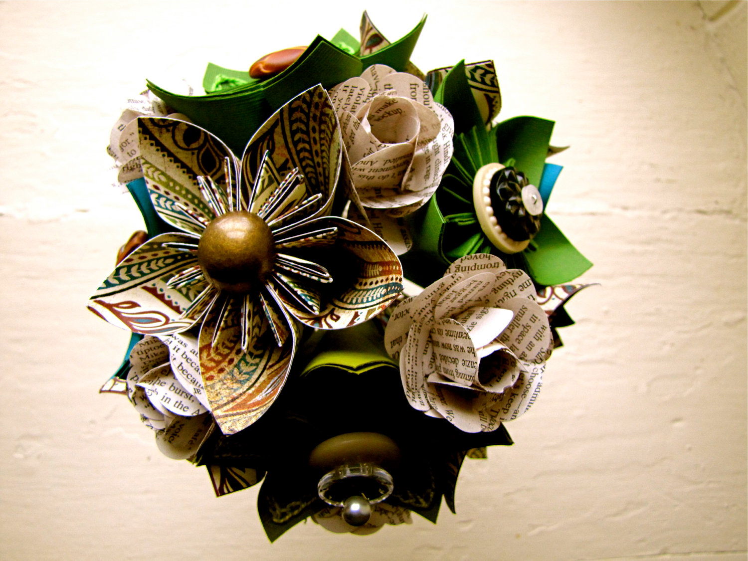 Paper Flower Wedding Bouquet Green Teal Book Pages Kusudama